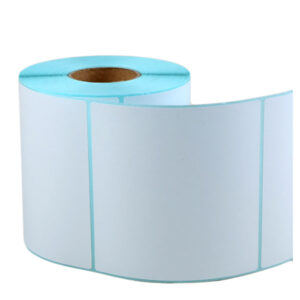 100mm x 100mm – Blank Self Adhesive Blue Glassine Direct Thermal Transfer Labels -500/Roll