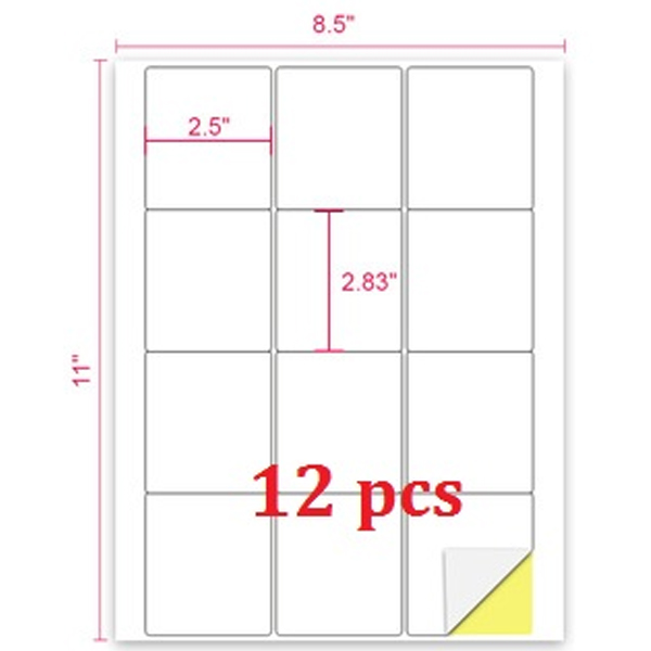 A4 Size Self Adhesive Shipping Address Labels 12 Per Sheet - 100 Sheets/Pack