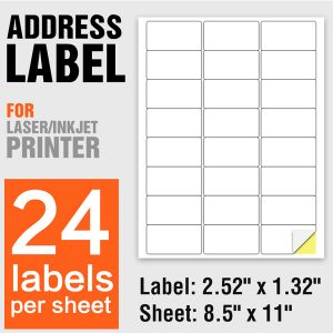 A4 Size Self Adhesive 24up Shipping Address Labels 24 Per Sheet – 100 Sheets/Pack