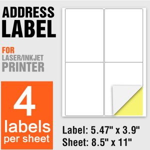 Laser Printing Self Adhesive A4 Paper Label Stickers 4 Per Sheet – 100 Sheets/Pack