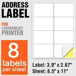 Laser Printing Self Adhesive A4 Paper Label Stickers 8 Per Sheet – 100 Sheets/Pack