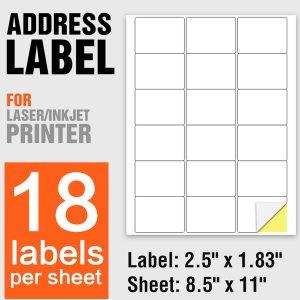 A4 Paper Laser Printing Self Adhesive Labels 18 Per Sheet – 100 Sheets/Pack