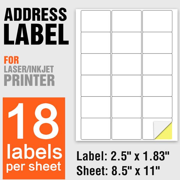 A4 Paper Laser Printing Self Adhesive Labels 18 Per Sheet - 100 Sheets/Pack