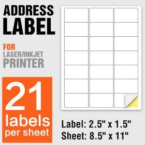 A4 Paper Laser Printing Self Adhesive Labels 21 Per Sheet – 100 Sheets/Pack