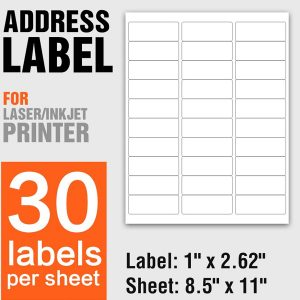 A4 Size Self Adhesive Shipping Address Labels 30 Per Sheet – 100 Sheets/Pack