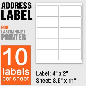 A4 Paper Laser Printing Self Adhesive Labels 10PCs Per Sheet - 100 Sheets/Pack