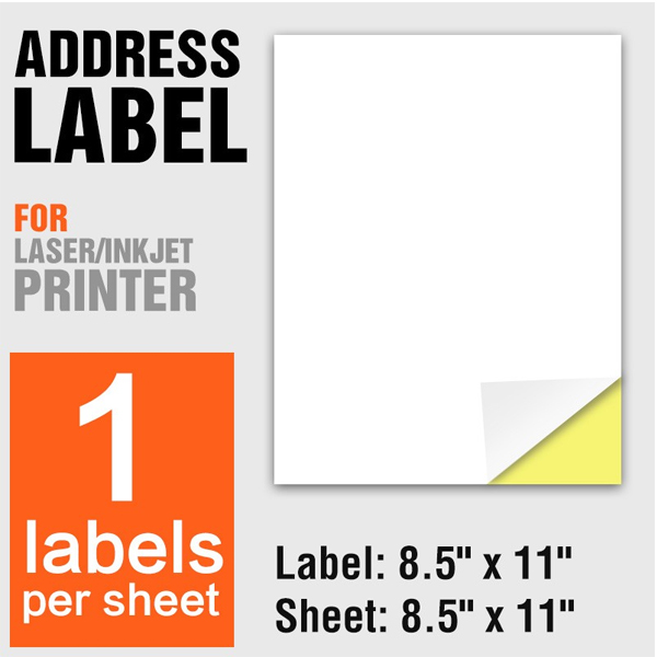 A4 Paper Size Self Adhesive Address Labels 1PC Per Label