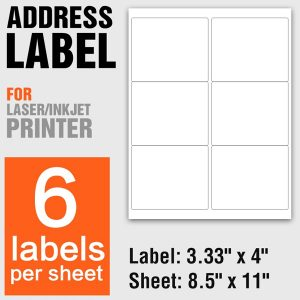A4 Size Self Adhesive Shipping Address Labels 6 Per Sheet – 100 Sheets/Pack