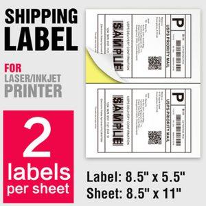 White A4 Sheet Paper Barcode Shipping Labels 2 Per Sheet – 100 Sheets/Pack