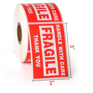 3″ x 2″ Handle with Care Fragile Thank You Warning Stickers for Shipping – 500 Labels/Roll